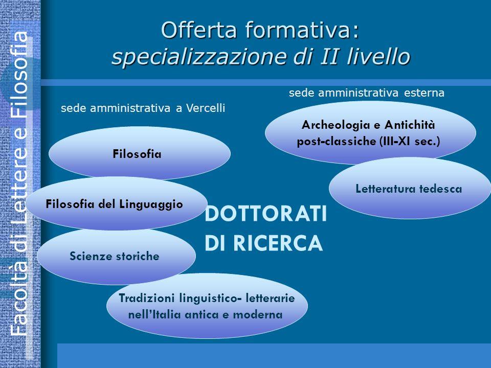 Offerta formativa: specializzazione di II livello
