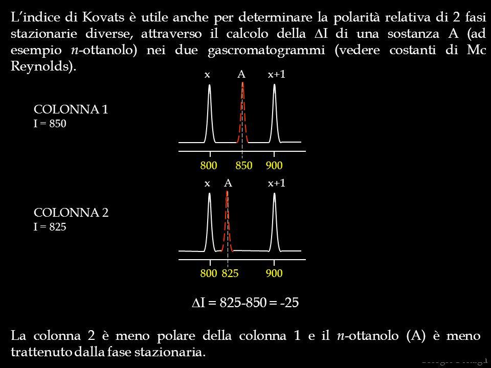 L'indice di Kovats è utile anche per determinare la polarità relativa di 2 fasi stazionarie diverse, attraverso il calcolo della DI di una sostanza A (ad esempio n-ottanolo) nei due gascromatogrammi (vedere costanti di Mc Reynolds).