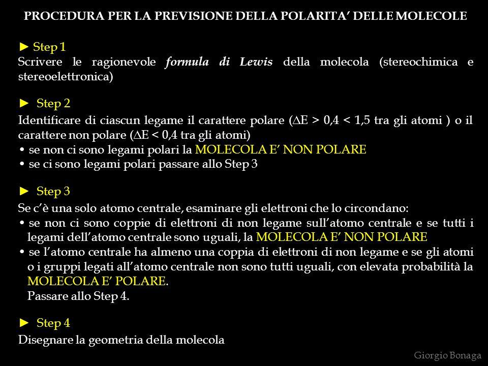 PROCEDURA PER LA PREVISIONE DELLA POLARITA' DELLE MOLECOLE