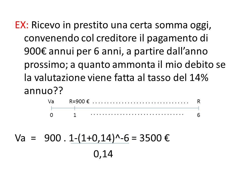 EX: Ricevo in prestito una certa somma oggi, convenendo col creditore il pagamento di 900€ annui per 6 anni, a partire dall'anno prossimo; a quanto ammonta il mio debito se la valutazione viene fatta al tasso del 14% annuo Va = 900 . 1-(1+0,14)^-6 = 3500 € 0,14