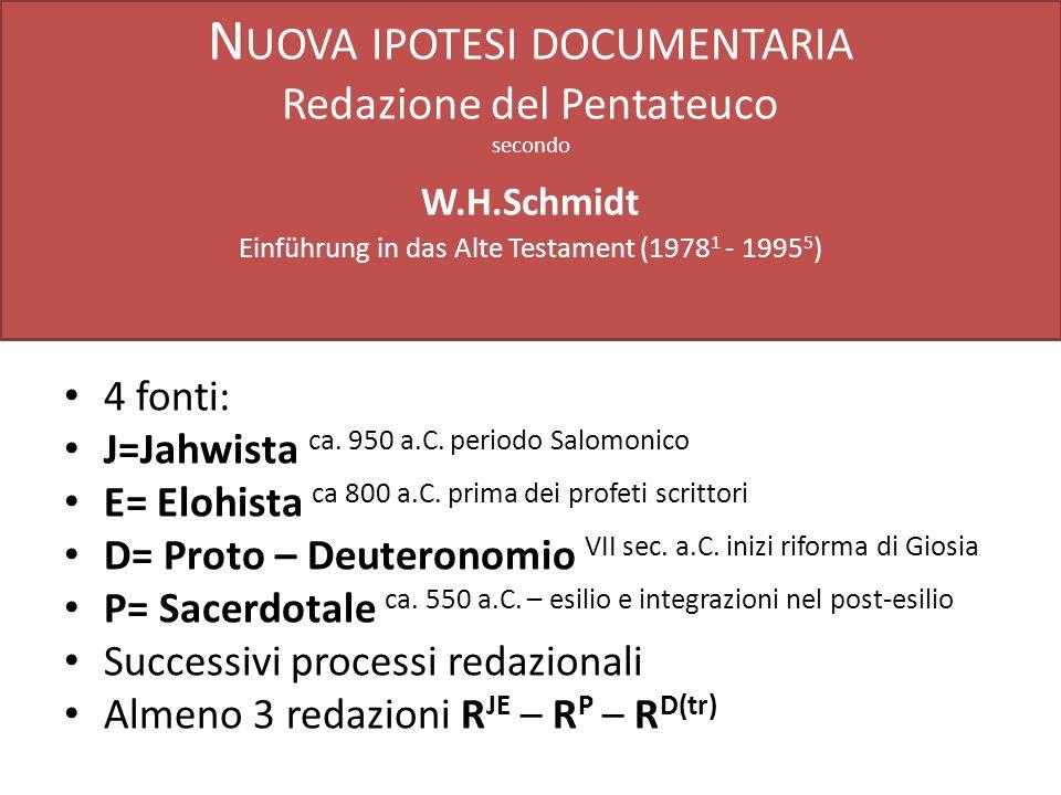 Nuova ipotesi documentaria Redazione del Pentateuco secondo W. H