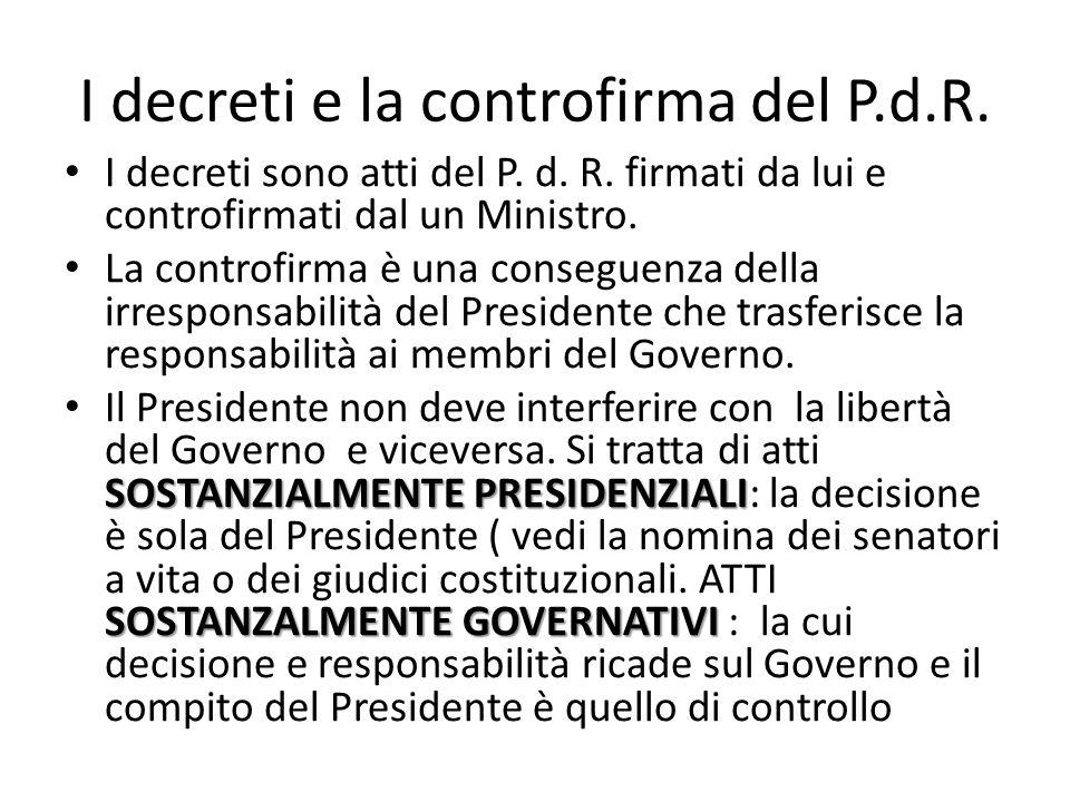 I decreti e la controfirma del P.d.R.