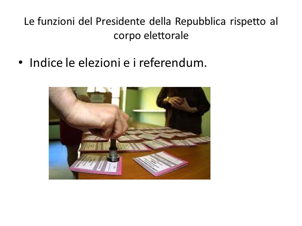 Indice le elezioni e i referendum.