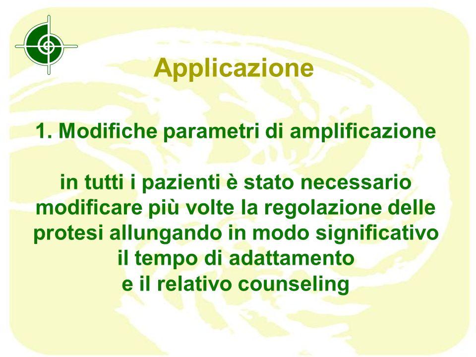 Applicazione 1. Modifiche parametri di amplificazione