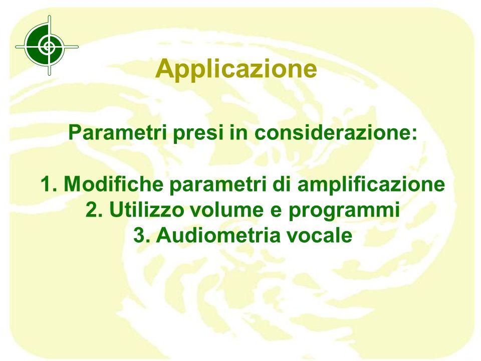 Applicazione Parametri presi in considerazione: