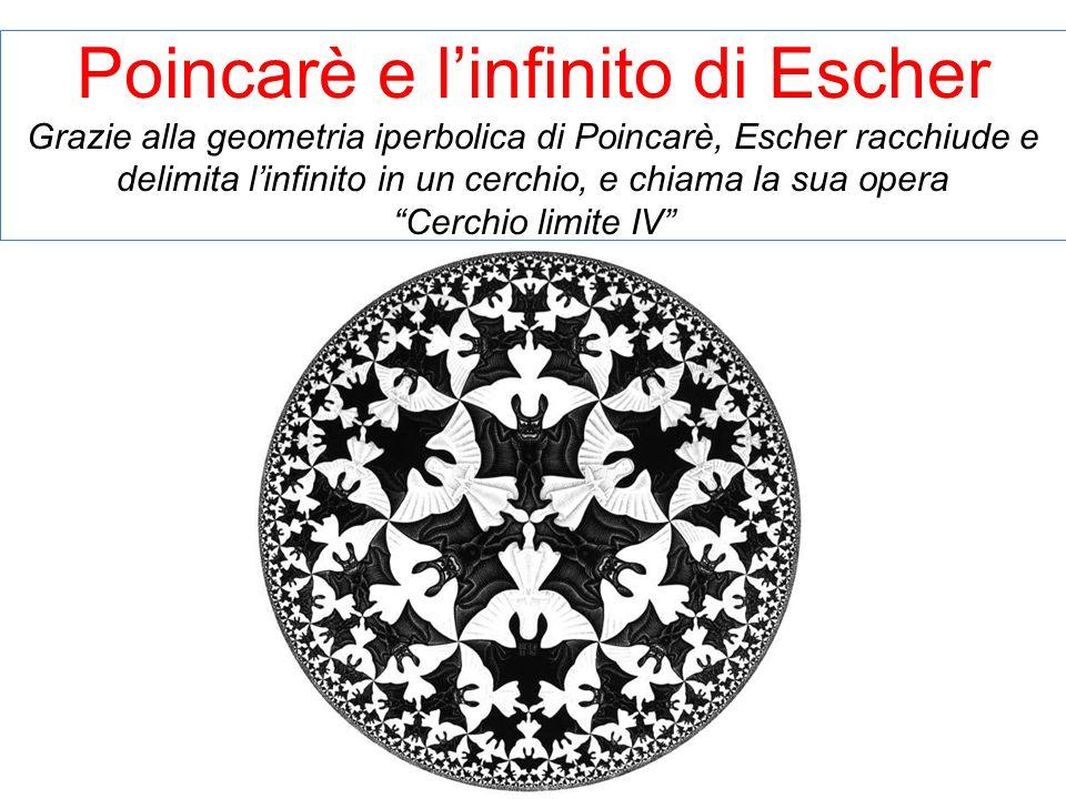 Poincarè e l'infinito di Escher Grazie alla geometria iperbolica di Poincarè, Escher racchiude e delimita l'infinito in un cerchio, e chiama la sua opera Cerchio limite IV