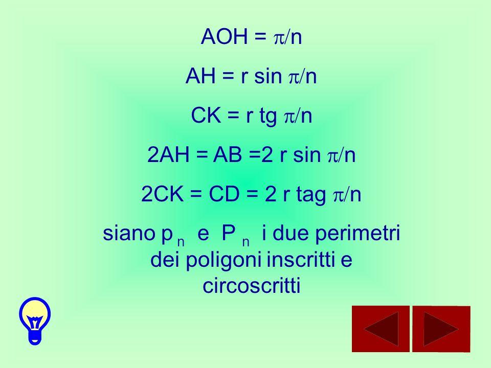 siano p n e P n i due perimetri dei poligoni inscritti e circoscritti
