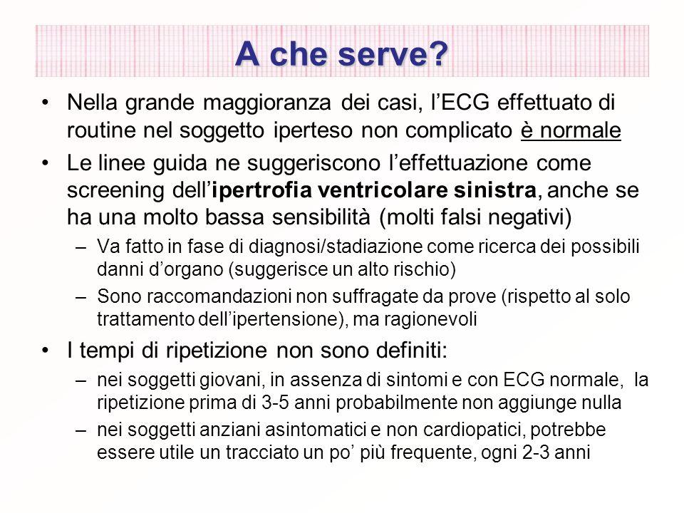 A che serve Nella grande maggioranza dei casi, l'ECG effettuato di routine nel soggetto iperteso non complicato è normale.