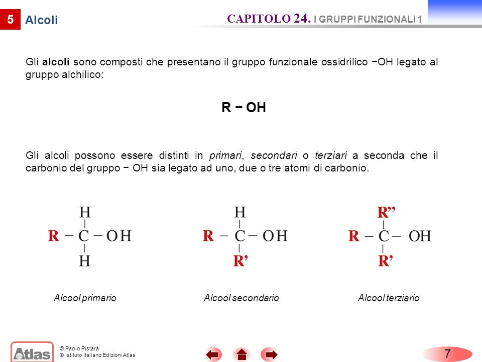 R − OH CAPITOLO 24. I GRUPPI FUNZIONALI 1 5 Alcoli