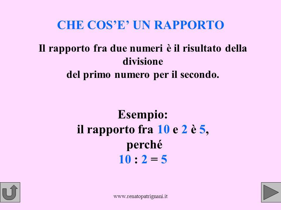Esempio: il rapporto fra 10 e 2 è 5, perché 10 : 2 = 5