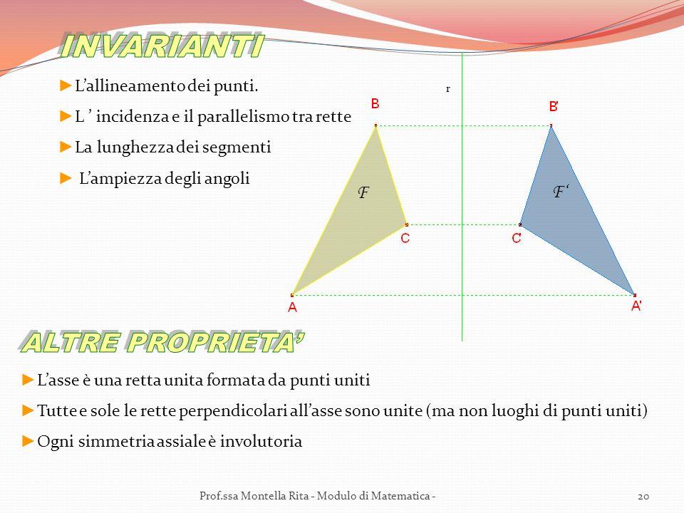 INVARIANTI ALTRE PROPRIETA' F F' L'allineamento dei punti.