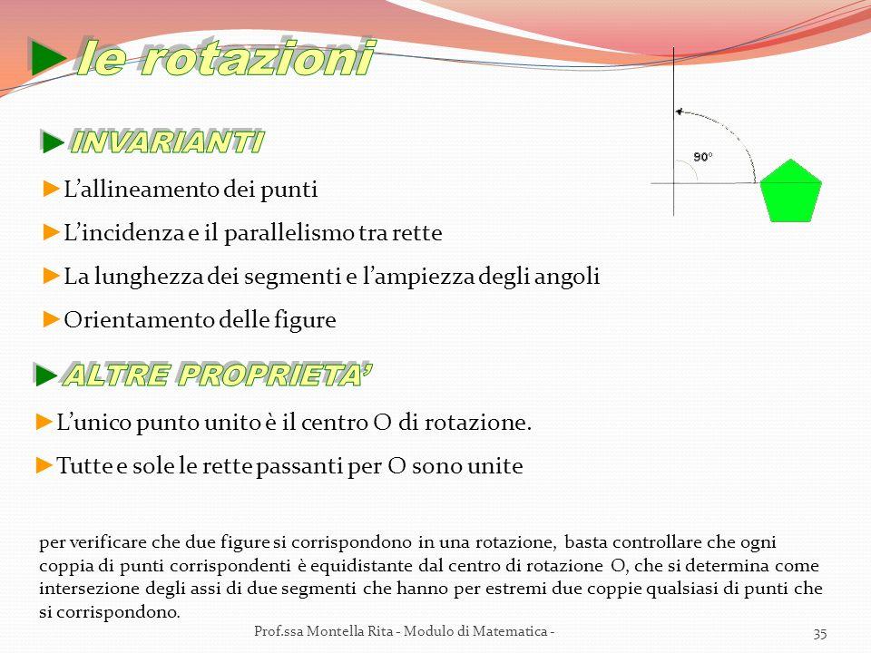le rotazioni INVARIANTI ALTRE PROPRIETA' L'allineamento dei punti