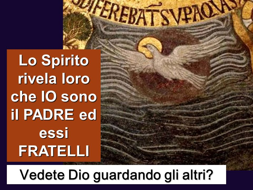 Lo Spirito rivela loro che IO sono il PADRE ed essi FRATELLI
