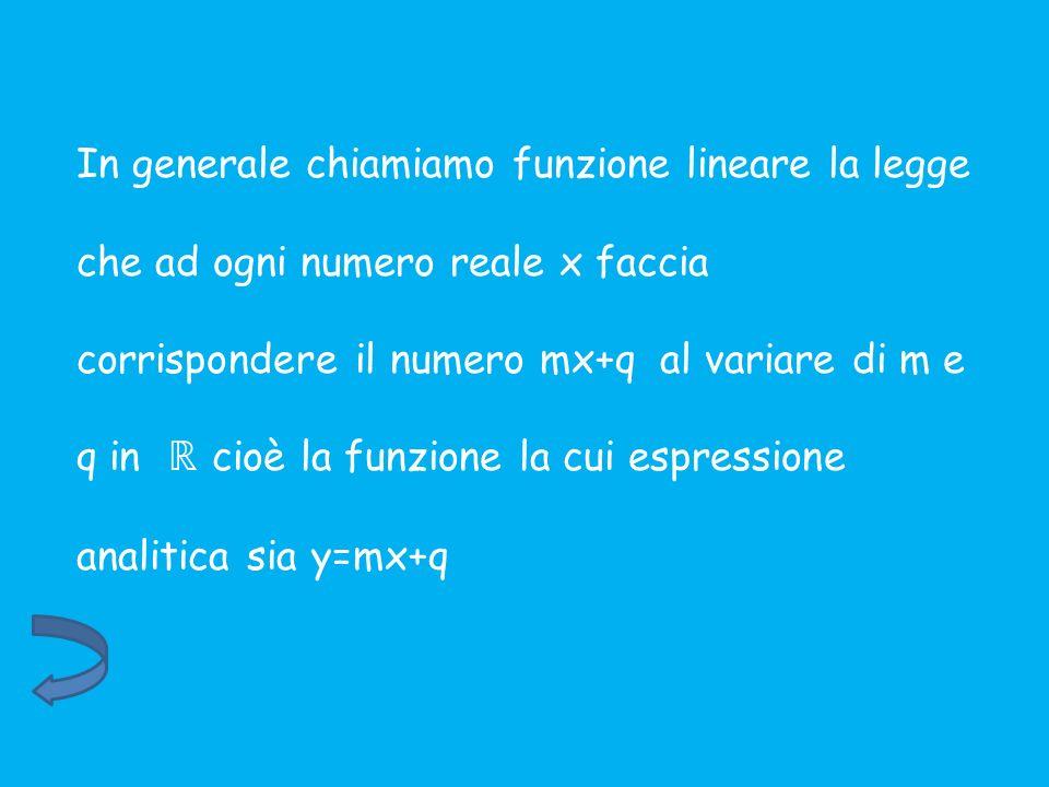 In generale chiamiamo funzione lineare la legge che ad ogni numero reale x faccia corrispondere il numero mx+q al variare di m e q in ℝ cioè la funzione la cui espressione analitica sia y=mx+q