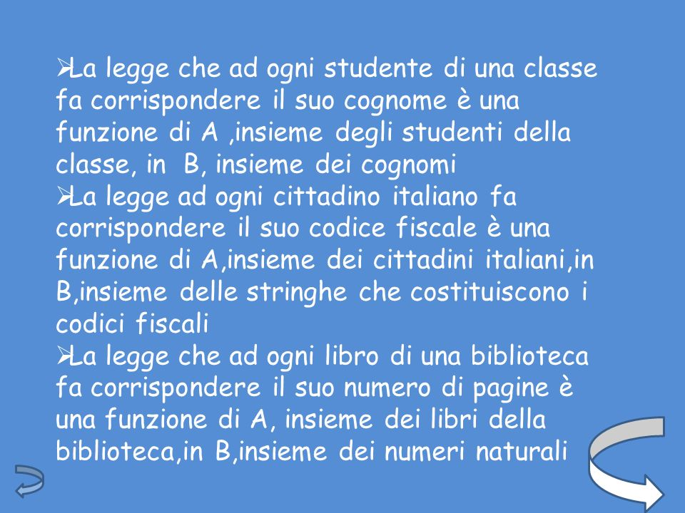 La legge che ad ogni studente di una classe fa corrispondere il suo cognome è una funzione di A ,insieme degli studenti della classe, in B, insieme dei cognomi