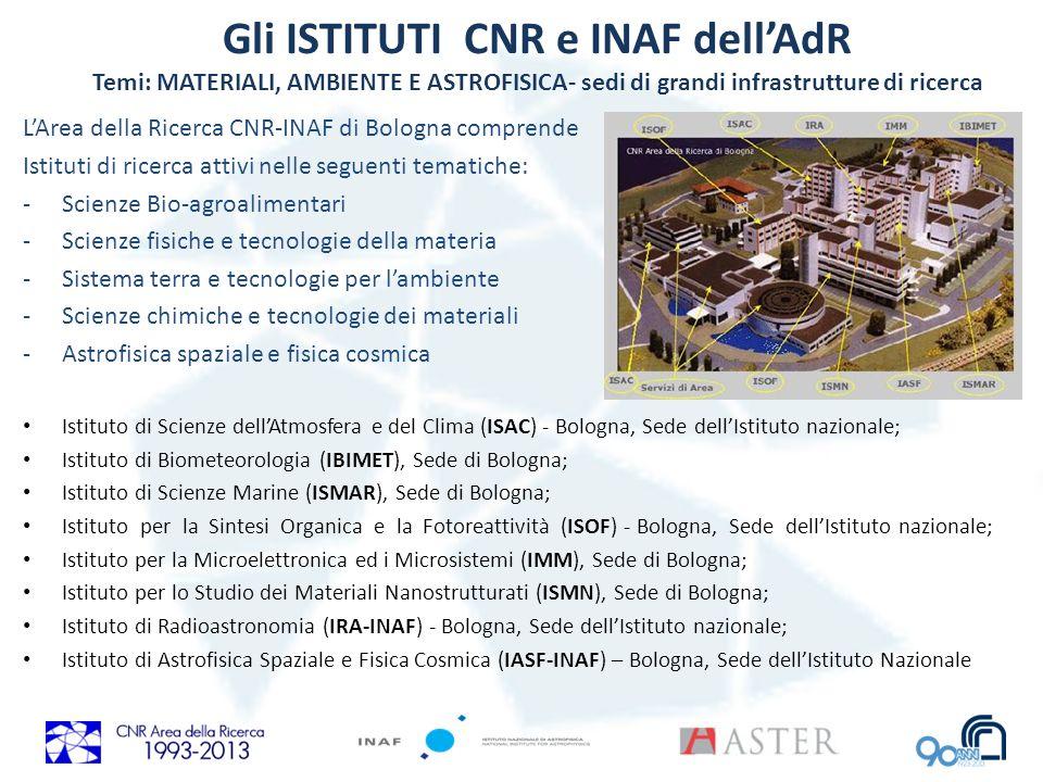 Gli ISTITUTI CNR e INAF dell'AdR Temi: MATERIALI, AMBIENTE E ASTROFISICA- sedi di grandi infrastrutture di ricerca