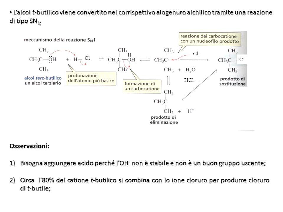 L'alcol t-butilico viene convertito nel corrispettivo alogenuro alchilico tramite una reazione di tipo SN1;