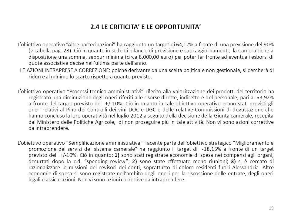 2.4 LE CRITICITA' E LE OPPORTUNITA'