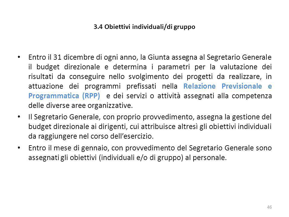 3.4 Obiettivi individuali/di gruppo