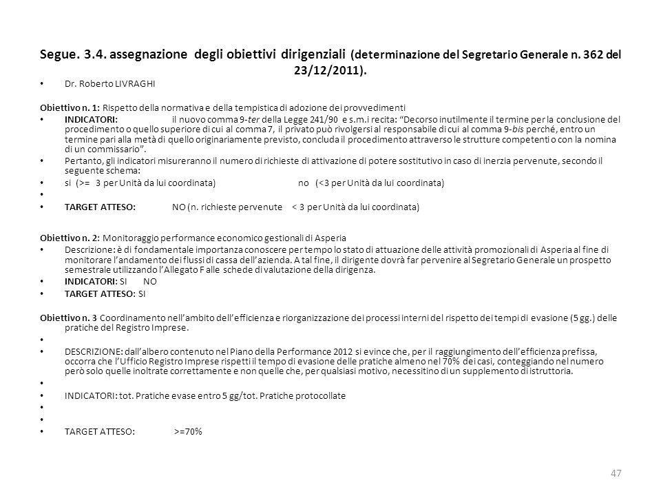 Segue. 3.4. assegnazione degli obiettivi dirigenziali (determinazione del Segretario Generale n. 362 del 23/12/2011).