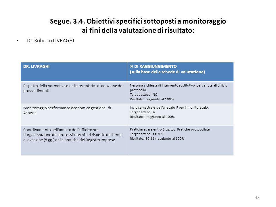 Segue. 3.4. Obiettivi specifici sottoposti a monitoraggio ai fini della valutazione di risultato: