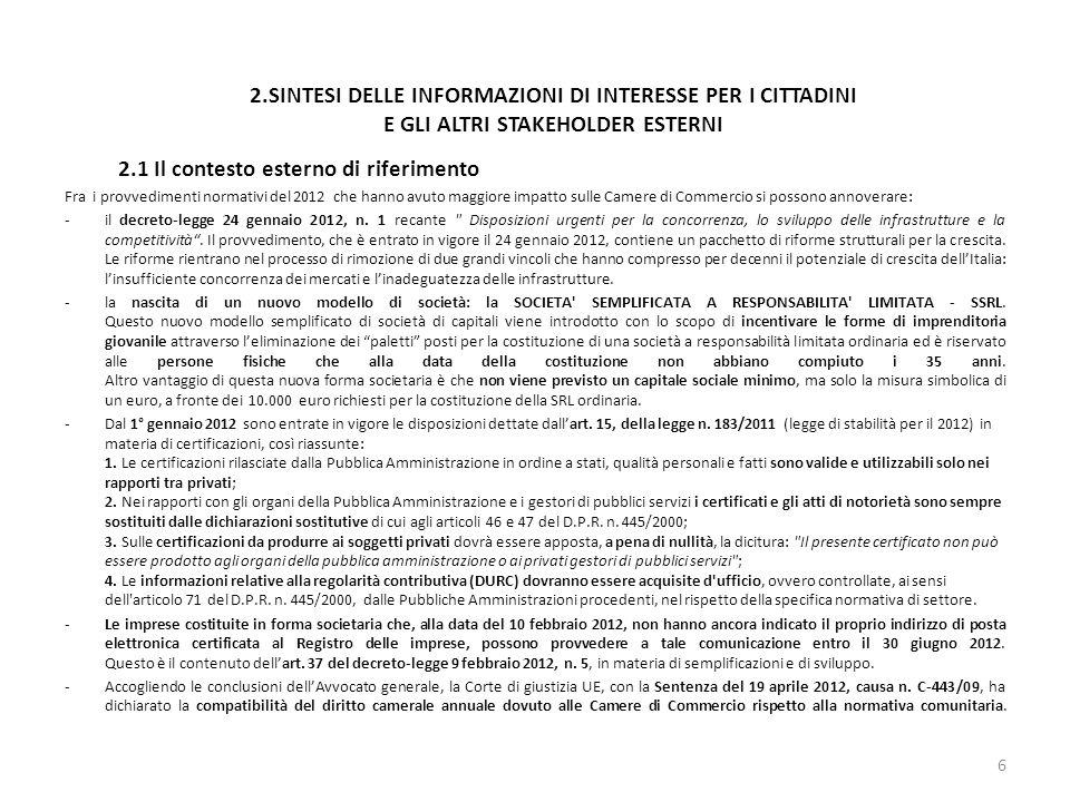 2.SINTESI DELLE INFORMAZIONI DI INTERESSE PER I CITTADINI E GLI ALTRI STAKEHOLDER ESTERNI