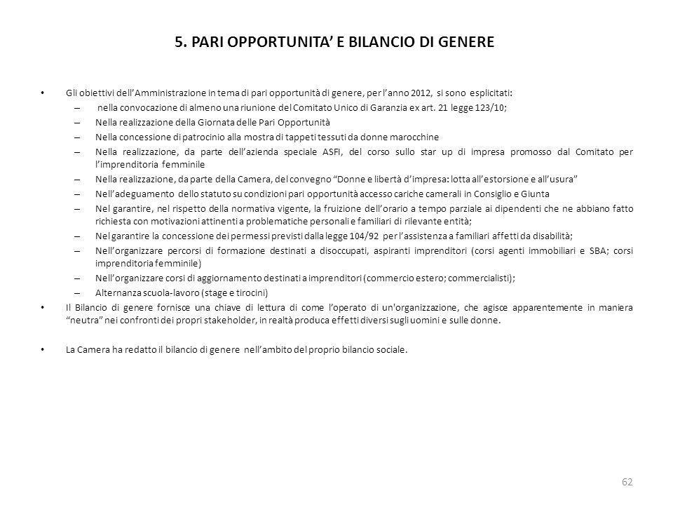 5. PARI OPPORTUNITA' E BILANCIO DI GENERE
