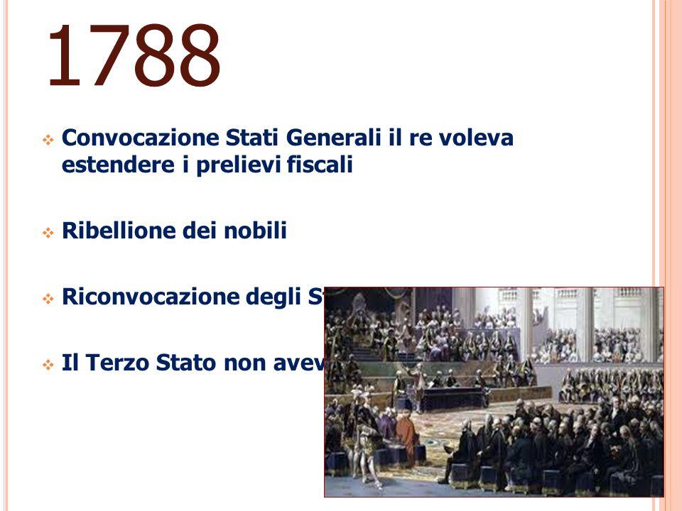 1788 Convocazione Stati Generali il re voleva estendere i prelievi fiscali. Ribellione dei nobili.