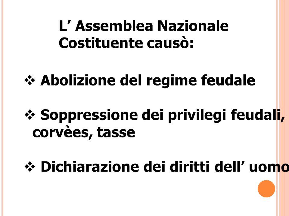 L' Assemblea Nazionale Costituente causò: