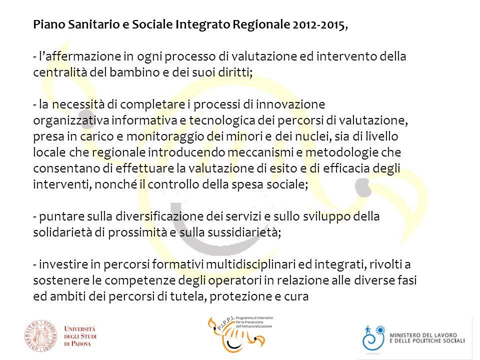 Piano Sanitario e Sociale Integrato Regionale 2012-2015, - l'affermazione in ogni processo di valutazione ed intervento della centralità del bambino e dei suoi diritti; - la necessità di completare i processi di innovazione organizzativa informativa e tecnologica dei percorsi di valutazione, presa in carico e monitoraggio dei minori e dei nuclei, sia di livello locale che regionale introducendo meccanismi e metodologie che consentano di effettuare la valutazione di esito e di efficacia degli interventi, nonché il controllo della spesa sociale; - puntare sulla diversificazione dei servizi e sullo sviluppo della solidarietà di prossimità e sulla sussidiarietà; - investire in percorsi formativi multidisciplinari ed integrati, rivolti a sostenere le competenze degli operatori in relazione alle diverse fasi ed ambiti dei percorsi di tutela, protezione e cura