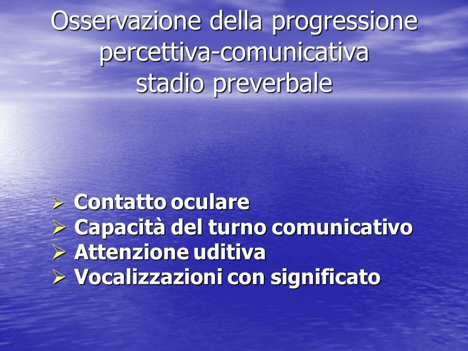 Osservazione della progressione percettiva-comunicativa stadio preverbale