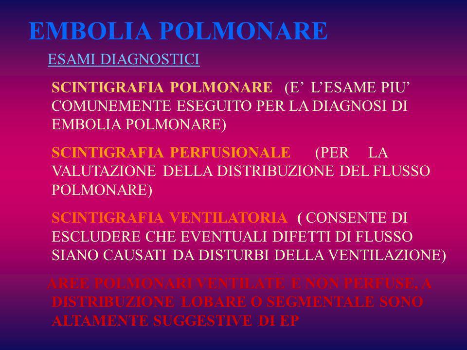 EMBOLIA POLMONARE ESAMI DIAGNOSTICI
