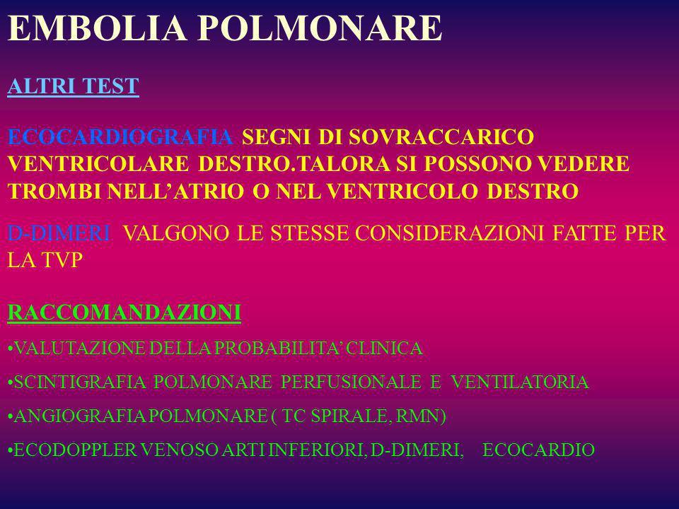 EMBOLIA POLMONARE ALTRI TEST