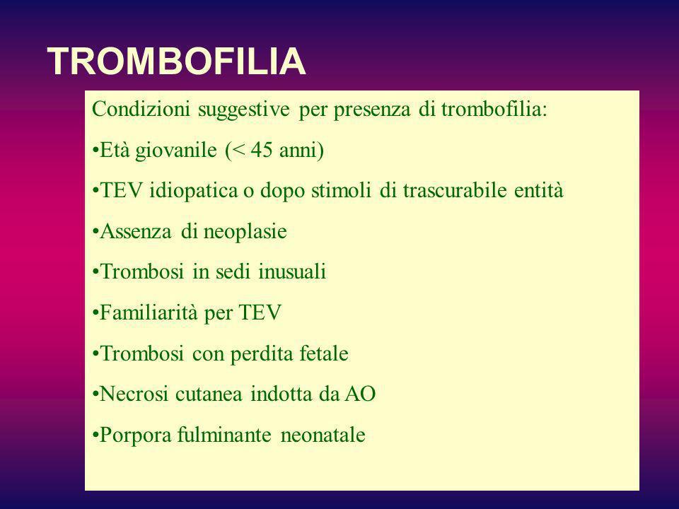 TROMBOFILIA Condizioni suggestive per presenza di trombofilia: