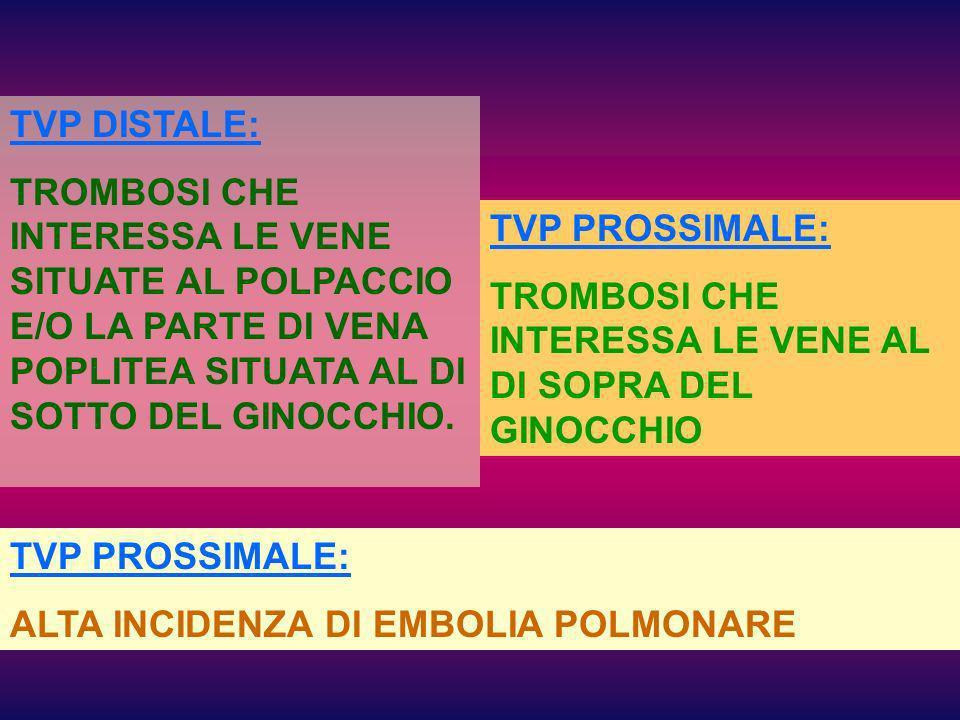 TVP DISTALE: TROMBOSI CHE INTERESSA LE VENE SITUATE AL POLPACCIO E/O LA PARTE DI VENA POPLITEA SITUATA AL DI SOTTO DEL GINOCCHIO.