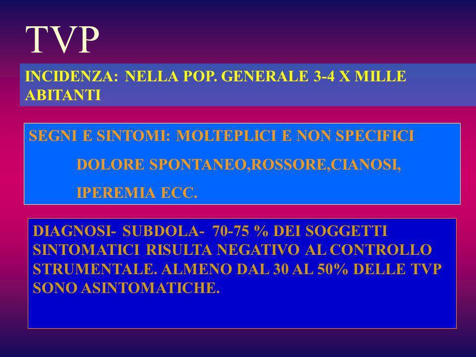 TVP INCIDENZA: NELLA POP. GENERALE 3-4 X MILLE ABITANTI
