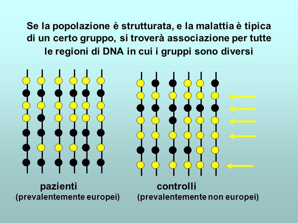 Se la popolazione è strutturata, e la malattia è tipica di un certo gruppo, si troverà associazione per tutte le regioni di DNA in cui i gruppi sono diversi