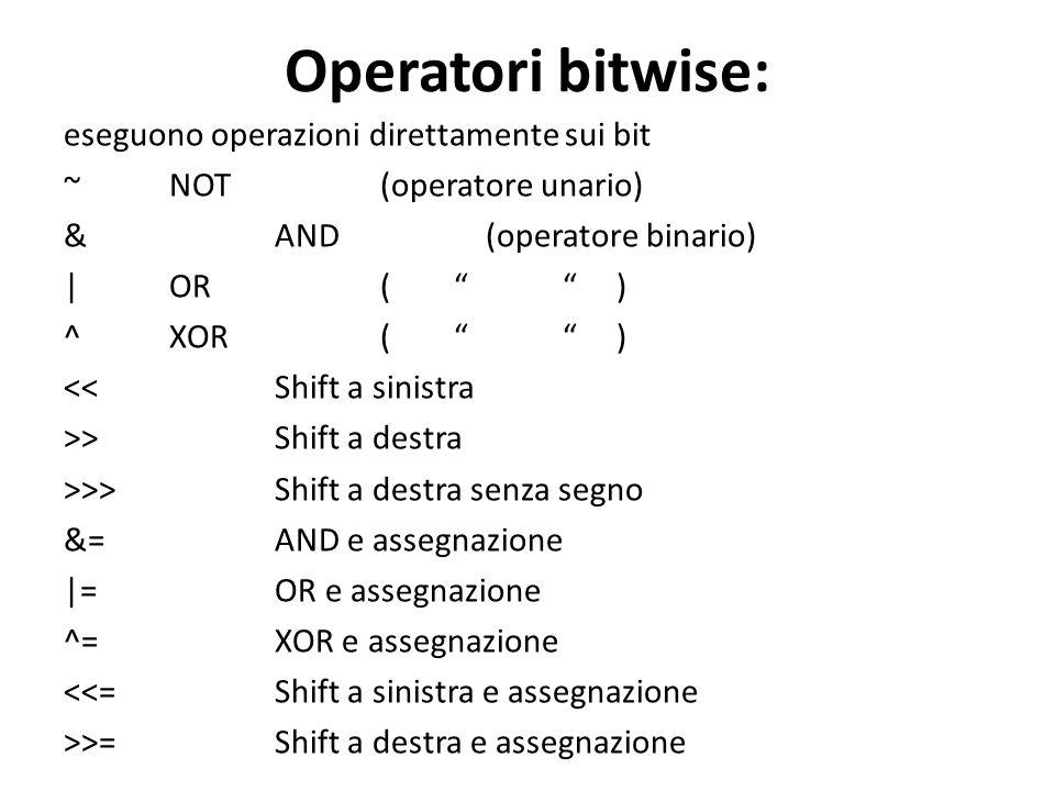 Operatori bitwise: