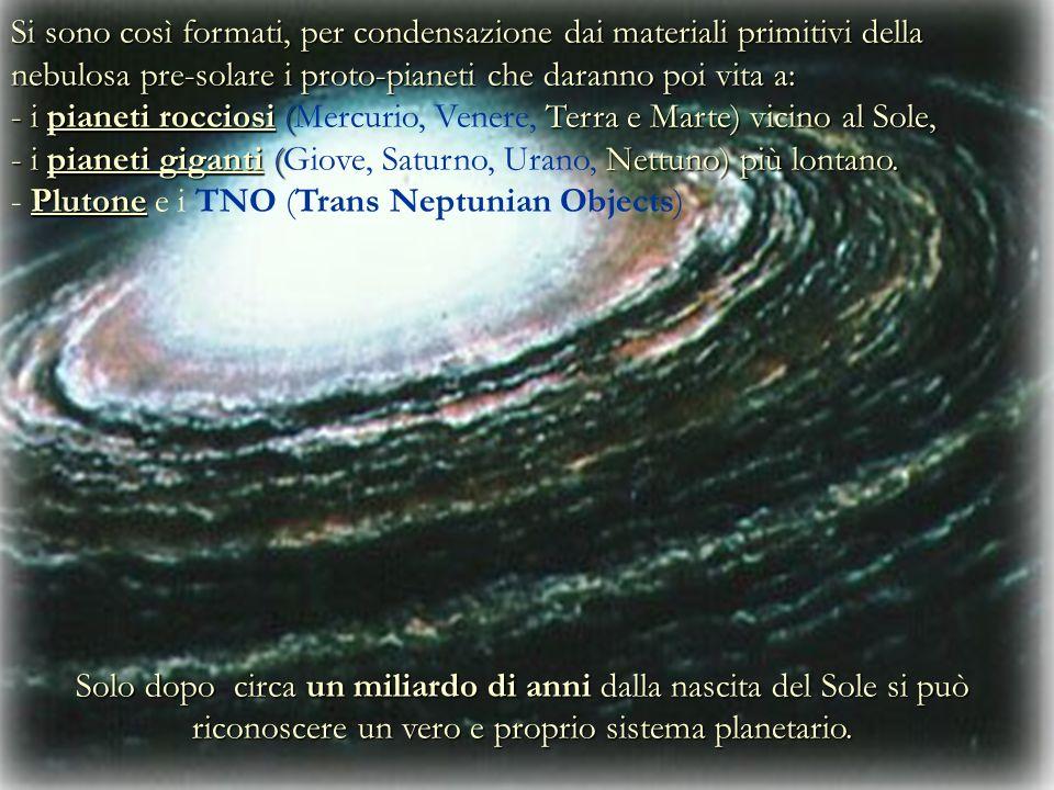 Si sono così formati, per condensazione dai materiali primitivi della nebulosa pre-solare i proto-pianeti che daranno poi vita a: