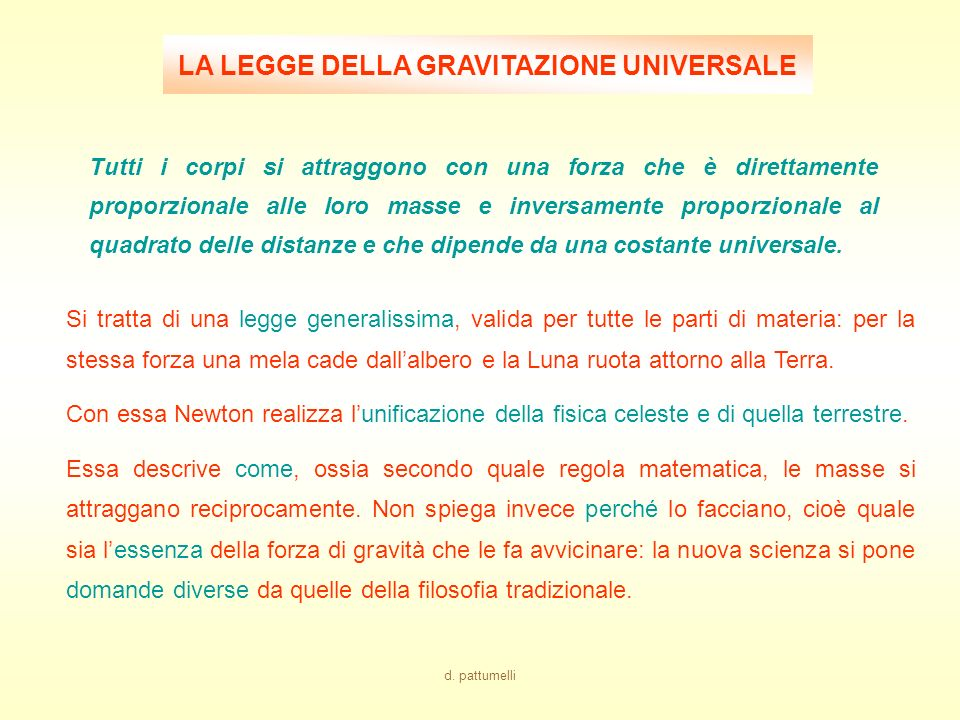 LA LEGGE DELLA GRAVITAZIONE UNIVERSALE