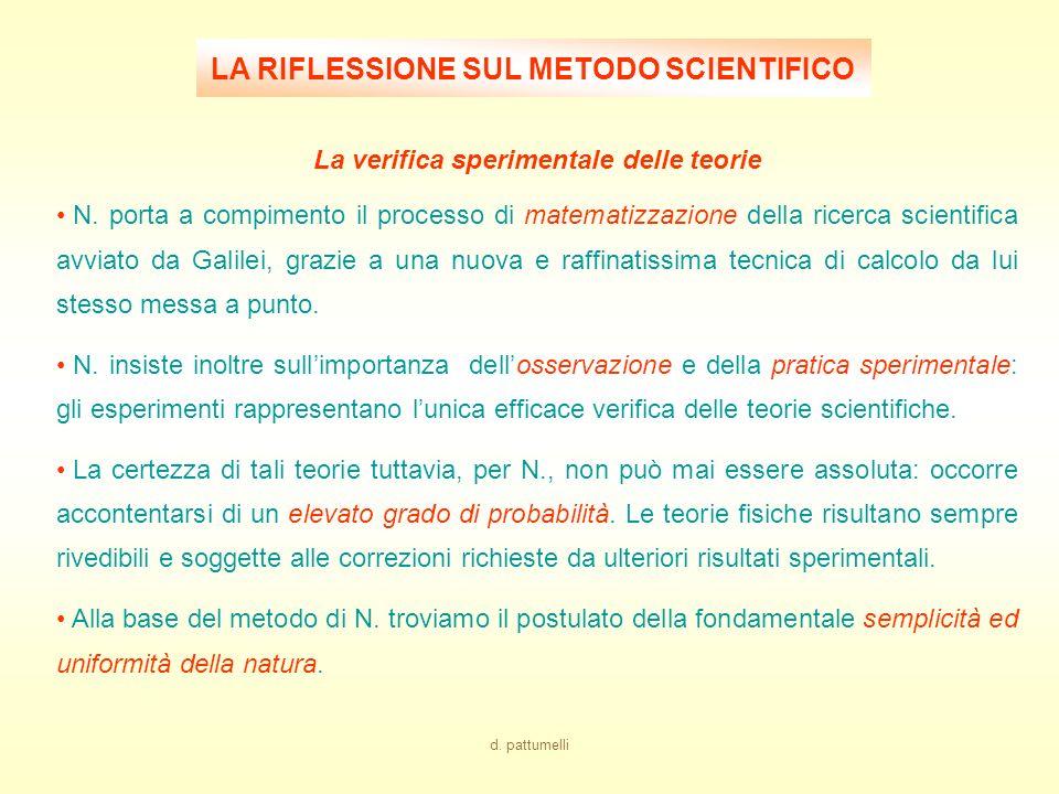 LA RIFLESSIONE SUL METODO SCIENTIFICO