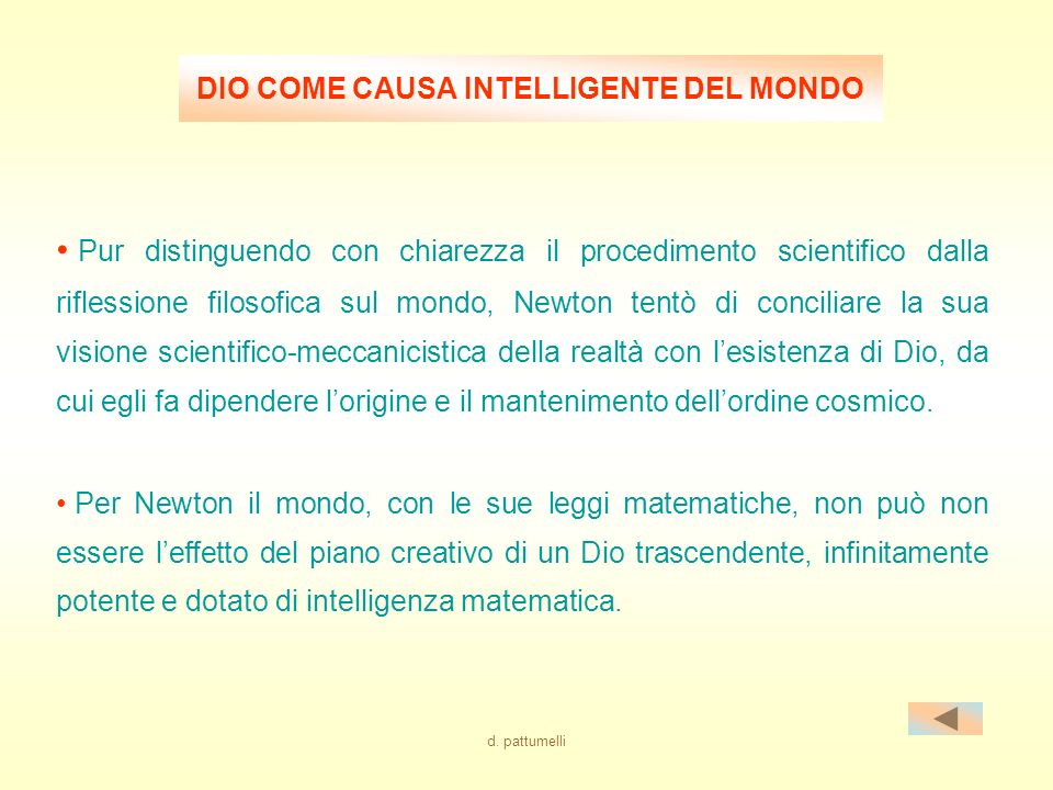 DIO COME CAUSA INTELLIGENTE DEL MONDO