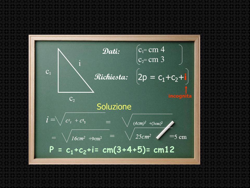 i = c21 + c22 c1= cm 4 Dati: c2= cm 3 i c1 Richiesta: 2p = c1+c2+i c2