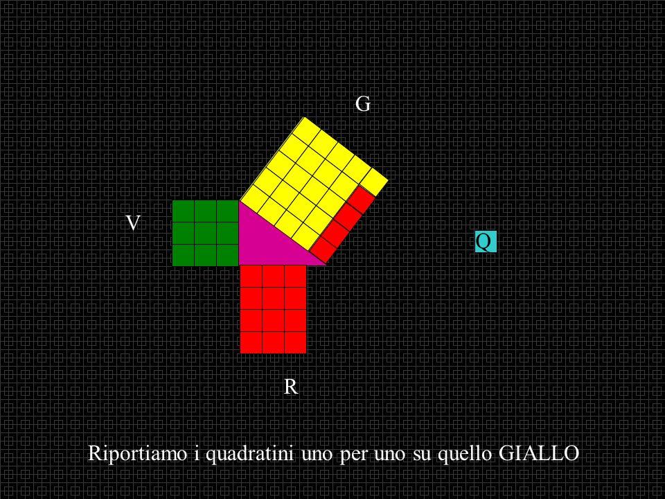 Riportiamo i quadratini uno per uno su quello GIALLO