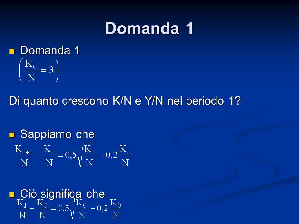Domanda 1 Domanda 1 Di quanto crescono K/N e Y/N nel periodo 1