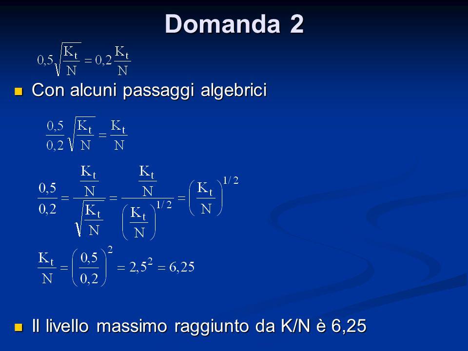 Domanda 2 Con alcuni passaggi algebrici