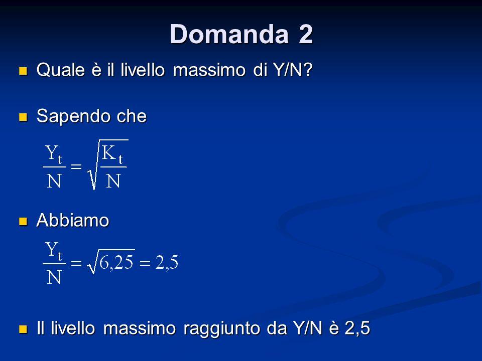 Domanda 2 Quale è il livello massimo di Y/N Sapendo che Abbiamo