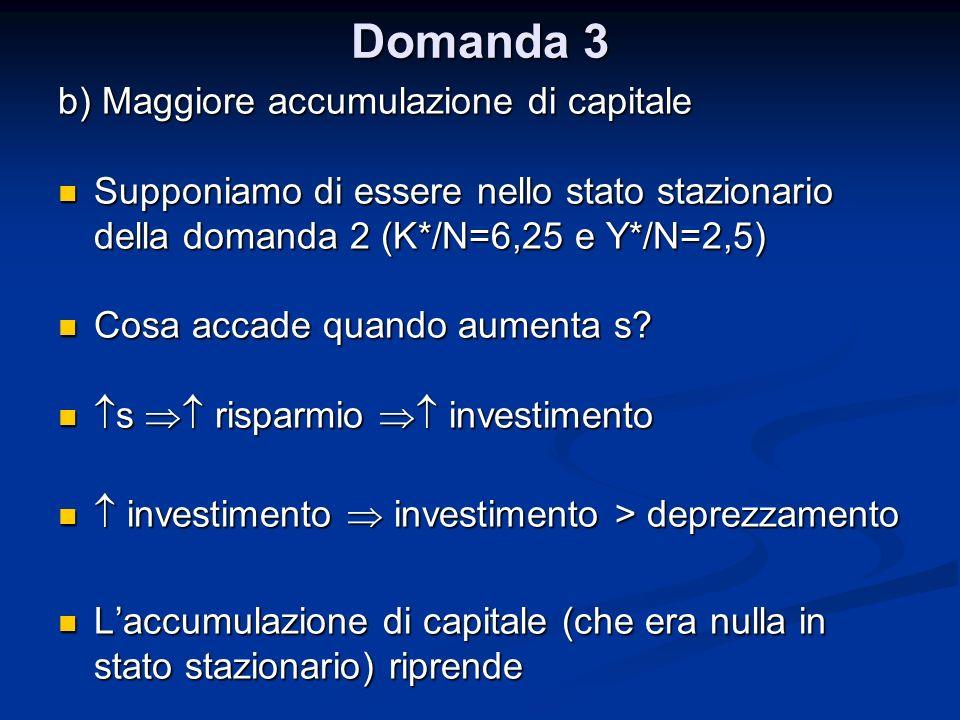 Domanda 3 b) Maggiore accumulazione di capitale