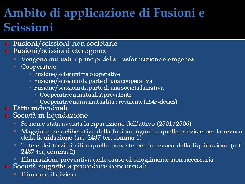 Ambito di applicazione di Fusioni e Scissioni