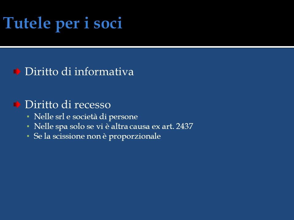 Tutele per i soci Diritto di informativa Diritto di recesso